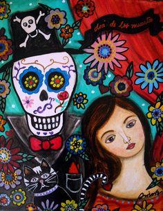 Dia De Los Muertos Painting - Dia De Los Muertos Fine Art Print - Pristine ...