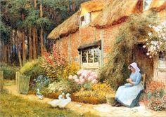 """Woman Outside Cottage with Ducks"" → Arthur Claude Strachan - 1865/1929 - Pintor Escocês."