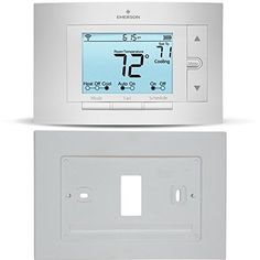 Sensi Smart Thermostat Wi-Fi UP500W with Emerson F61-2663 Wall Plate for Sensi (White) Works with Amazon Alexa