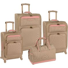 Inspired by the island lifestyle the Tommy Bahama Mama 4 Piece Expandable Spinner Luggage Set features basket weave trim, antique hardware and a four wheel spinner system for easy rolling. - Dobby pol