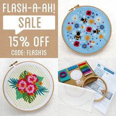15% Off EVERTHING until Sunday or whilst stocks last (whichever comes first)   Use code FLASH15 at checkout.  As you may or may not know we're about to complete on buying a bungalow next week  It's suddenly dawned on us the amount of the work there is to do   So I had a brainwave  about 2 hours ago to have a flash (a-ah)  #sale this weekend to bump up the house fund  I can't wait to show you my new studio!   If you want to stock up on kits you can also use code 20OFF60 to get 20% off orders…