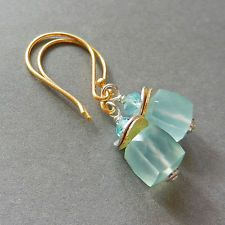 U&C Sundance Ocean Blue Chalcedony Apatite 14k Gold 925 Sterling Silver Earrings