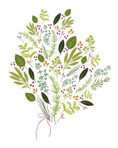 Papercut Print - Spring Herbs Bouquet with Berries - 8x10. $20.00, via Etsy.