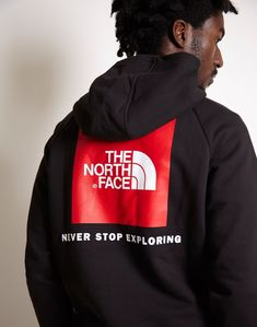 The North Face Raglan Red Box Hoodie Black North Face Hoodie, Red Hoodie, Face Aesthetic, Never Stop Exploring, Hoodies, Sweatshirts, The North Face, Design Inspiration, Mens Fashion