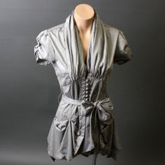 steam punk style buisess dress suits | Gray Victorian Steampunk Bustle Tailcoat Hem Button Down Bow Blouse