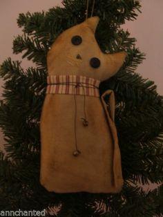 Handmade Primitive Kitty Cat Fabric Doll Christmas Ornie Folk Art PA USA | eBay