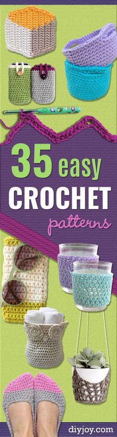 35 Easy Crochet Patterns - Creative Step by Step Crocheted Crafts Make Cool DIY . 35 Easy Crochet Patterns - Creative Step by Step Crocheted Crafts Make Cool DIY Gifts for Friends and Family - Crochet P. Crochet Patterns For Beginners, Easy Crochet Patterns, Knitting For Beginners, Crochet Stitches, Knitting Patterns, Easy Patterns, Blanket Patterns, Diy Crochet Projects, Easy Knitting Projects
