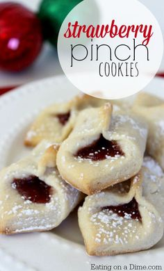 Strawberry Pinch Cookies recipe.  today we have another delicious one – Strawberry pinch cookies. These are easy to make and are perfect around the holidays especially for the Christmas Cookie Swap!