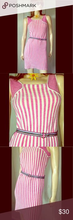 """VTG 70s Pink Candy Stripe Terry Cloth Beach Dress HAVE FUN IN THE SUN...in this super cute vintage 70s Beach Dress/sundress in a fun & flirty pink & white candy striped pattern. Super soft Terry Cloth fabric. Pullover sleeveless style, formfitted for a figure-flattering fit. Perfect for the 70s Groovy Beach Babe.  DETAILS:Belt not included  Size:M  Bust:32"""" unstretched to 36"""" Waist:30"""" Hips:up to 36"""" Lgth:35"""" shoulder-hem, 28"""" underarm-hem Label:Made in Belgium Expressly for Ohrbach's…"""