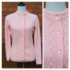 Vintage Crochet Knit Sweater, Soft Pink, Pearly Buttons, Zig Zag Hem and sleeves, Cable details, Excellent Condition, 60s Cardigan by Have2Shop on Etsy