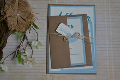 Rustic Vintage Kraft Wedding Invitation, Shabby Chic Wedding Invitation, Vintage Wedding Invitation, Eco Friendly Wedding Invitation, Blue