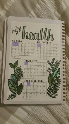 Healthy habit tracking for bullet journals #bulletjournal #health #fitness