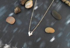 A-193 Fox necklace, Matt necklace, Pendant necklace, Simple necklace, Silver plated/Everyday jewelry/