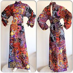 Daymor Couture 1970s Psychedelic Long Sleeve Vintage Maxi Dress / Flower & Paisley Wild Card Vintage Boho Hippie Gypsy Dress