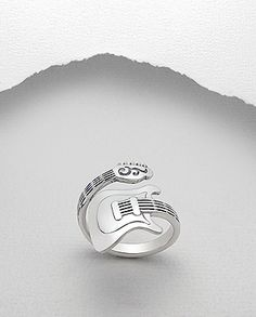 Guitar Bass Wrap Around Ring 925 Sterling Silver Music Band Musician - Auralee Company