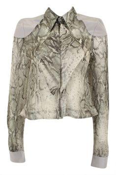 ELLERY  Noble Silk Bibbed Shirt - Snake Print