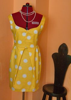 Tulip dress, date dress, bridesmaid dress, party dress, dress polka dots , handmade dress, day dress, cotton saten dress, vintage inspired