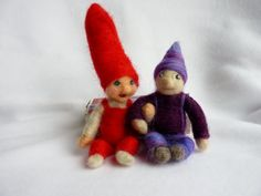 Wee Needle felted Gnome Sprites by susio on Etsy
