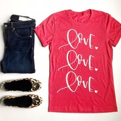 Cute Valentine's Day T-Shirts for Her. Perfect way to celebrate this holiday. Cute t-shirts that are comfortable and adorable to wear under a denim jacket or over a long sleep undershirt. Check out these cute T-shirts before they sell out. Cute Tshirts, Valentines Day, Denim, Tees, Mens Tops, How To Wear, T Shirt, Jackets, Argos