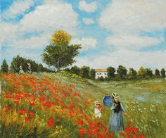 Claude Monet-Poppy Field in Argenteuil Hand Painted Oil Painting on Canvas Pablo Picasso - Mother and Child at Harvard Art Museum Cambridge MA Schlüsselblume Monet Paintings, Impressionist Paintings, Impressionism Art, Landscape Paintings, Claude Monet, Oil Painting On Canvas, Canvas Art, Artist Monet, Oil Painting Reproductions