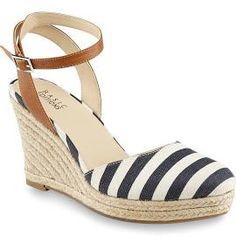 Basic Editions Women's Genie Blue/White/Striped Espadrille Wedge Sandal, ...