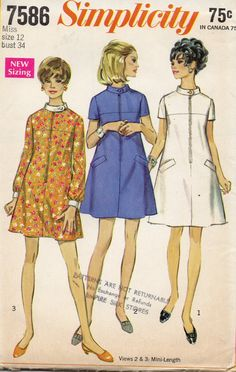 Simplicity 7586 1960s Misses Zip Front TENT Dress womens vintage sewing pattern by mbchills