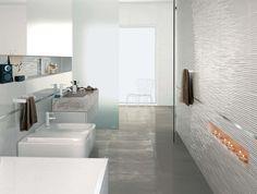 Dreidimensionale Badezimmer Fliesen in Weiß