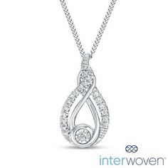 "#Zales - #Verigold Com Ltd Interwoven™ 1/10 CT. T.w. Diamond Pendant in Sterling Silver - 19"" - AdoreWe.com"
