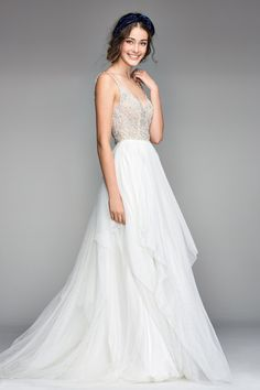 Satin Wedding Dresses Willowby by Watters Virgo 50700 Lace A-Line Wedding Dress - Nova's beaded bodice continues into elegant beaded straps that feature a stellar, star-like pattern that floats into its cascading Tulle skirt. Perfect Wedding Dress, Best Wedding Dresses, Wedding Suits, Bridal Dresses, Wedding Gowns, Watters Wedding Dresses, Nordstrom Wedding Dresses, Boho Wedding, Gatsby Wedding Dress