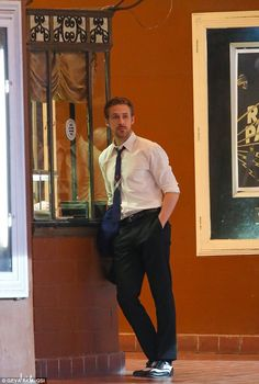 Hanging around: Ryan Gosling was spotted waiting around on the set of La La Land in Pasadena on Tuesday