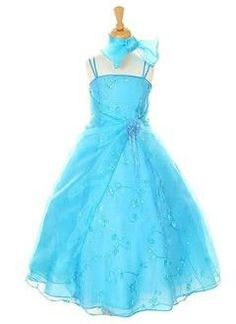 A-Line/Princess Ankle-Length Organza Satin Flower Girl Dress With Embroidered Flower(s) Sequins - Alternative Measures -