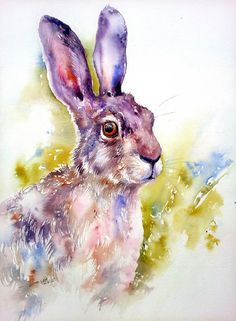 Animal art Art Original aquarelle lièvre peinture murale Decor 12 x 16