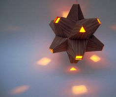 Paper Origami Lamp. Wood and Orange. 48 sides