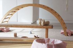 LOve the arch with rungs: Waldorf Toys, Wooden Arch & Hand Knit Bunnies