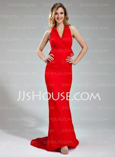 Bridesmaid Dresses - $119.99 - Mermaid Halter Sweep Train Chiffon Bridesmaid Dress With Ruffle (007019654) http://jjshouse.com/Mermaid-Halter-Sweep-Train-Chiffon-Bridesmaid-Dress-With-Ruffle-007019654-g19654
