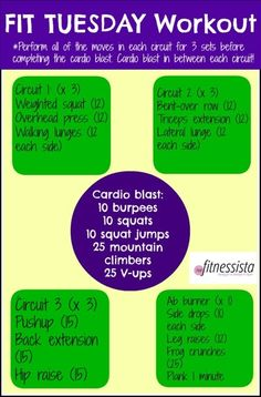 Have a Fit Tuesday instead of a fat one with this Fit Tuesday Workout! It& a total body circuit workout with cardio blasts, so it& efficient and sweaty! Boot Camp Workout, Barre Workout, Fun Workouts, At Home Workouts, Circuit Workouts, Tuesday Workout, Workout Routines For Women, Workout Ideas, Travel Workout
