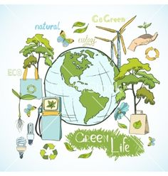 Doodles ecology and environment concept vector by macrovector on VectorStock®