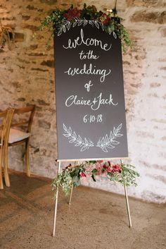 Chalkboard Wedding Welcome Sign | Photographer: Captured by Katrina | Venue: Dewsall Court | Florist: Great British Florist | Wedding Dress: Cymbeline Paris | Grooms Suit: Ted Baker | Bridesmaids: Coast
