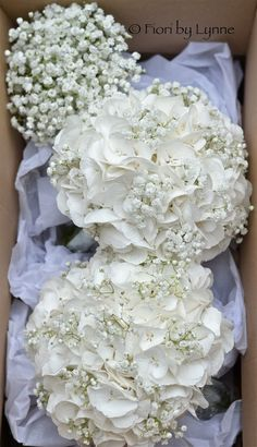 White Hydrangea and Gypsophila bouquets - This may have changed my mind about the blue! I still want a few deep reds in there though!