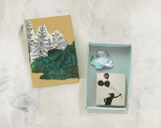 These matchbox art boxes are based on the matchbox shrine art. Each small box is decorated by hand using collage and/or painting to create a unique