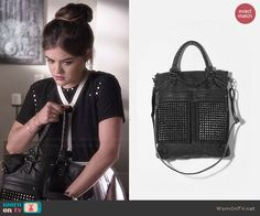 Aria's black studded bag on Pretty Little Liars. Outfit Details: http://wornontv.net/46023/ #PLL