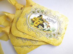 Easter Tags Bunny and Chicks-Set of 6 by WillowPaperie on Etsy