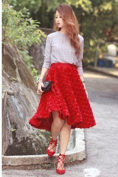red Aquazzura flats - black Amelie street bag - red Front Row Shop skirt