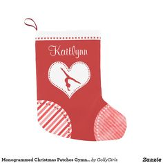 Monogrammed Christmas Patches Gymnastics Small Christmas Stocking