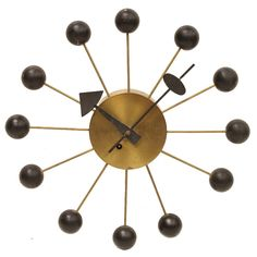 1950s George Nelson Ball Wall Clock for Howard Miller | From a unique collection of antique and modern clocks at https://www.1stdibs.com/furniture/decorative-objects/clocks/