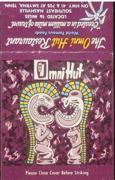1960S MATCHBOOK THE OMNI HUT POLYNESIAN RESTAURANT JAMES F. WALLS TIKI SMYRNA TN