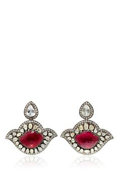 One Of A Kind Diamond & Ruby Drop Earrings by Amrapali for Preorder on Moda Operandi