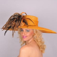 Sunflower Gold Large Brim/Feather Derby Hat