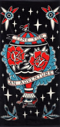 Sourpuss Adventure Beach Towel Roses Sparrows Hot Air Balloon Punk Tattoo Pinup #Sourpuss