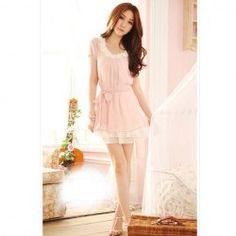 $8.69 New Arrival Lovely and Comfortable Style Flower Decorated Waisted Chiffon Dress